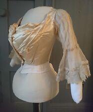 Antique 1890s Court Dressmaker Bodice With Brussels Point De Gaze Lace Sleeves