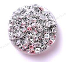 100pcs colourful 6mm cube acrylic letter/alphabet beads 6MM