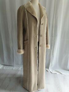 Ladies Faux Sheepskin Synthetic Fur Long Coat Winter Jacket 10
