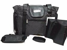 Skinly White Dots Baby Diaper/Stroller Bag, Size: Large, Black/Polka Dots - NEW