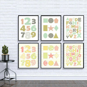 educational alphabet numbers shapes prints set of 3 kids nursery bedroom decor