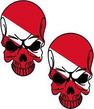 """2 - 3"""" SCUBA Dive Diver Skull Set Vinyl Car Sticker Decal Window"""