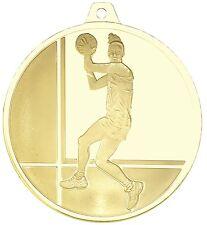 Netball 3D frosted 50mm Diameter Medal Inc Neck Ribbon / Engraving