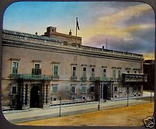 HAND COLOURED Glass Magic Lantern PALACE OF THE GOVERNOR VALETTA C1890 MALTA
