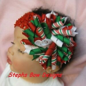 Christmas Red Green Korker Hair Bow Soft Headband Fits Preemie to Adult Holiday