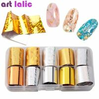 10 Sheets Nail Foil Starry Sky Gold Silver Holographic Nail Art Transfer Sticker