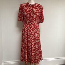 LK BENNETT Montana Dress UK Size 12 Red Patterned 100% Silk ASO Holly Willoughby