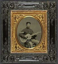 Photo Civil War Union Ed Chamberlain 11th New Hampshire Infantry Regiment Guitar