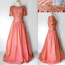 Vtg 80's VICTORIA ROYAL Formal Ball Gown Size 8 Pink Rose Hand Beaded Hong Kong