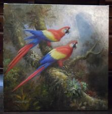 Original Oil Painting Art on Canvas Birds / Unframed /signed by Schroter