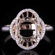 Engagement Wedding Natural Diamonds Ring Setting 10K Yellow Gold 7x9mm Oval Cut