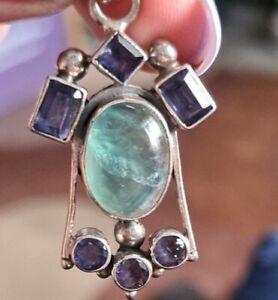 Semi Precious Stones Pendant Sterling Silver Setting, Amethyst & Green Onyx
