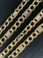 14ct 585 Yellow WHITE GOLD 4MM CURB Figaro Chain Bracelet ALL SIZE GIFT BRAND