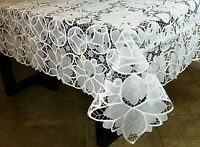 """White Embroidery Tablecloth 72x90"""" 8 napkins Wedding Bridal Shower Event Banquet"""