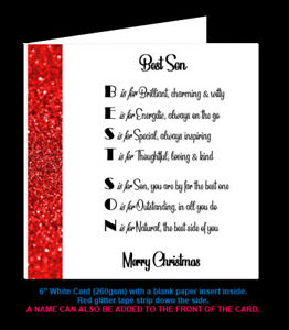 Son Poem Birthday Card, Christmas Card, Son in Law Poem Card, Special Step Son