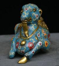 """11"""" Old Chinese Bronze Gild Cloisonne Animal Sheep Goat incense burner Censer"""
