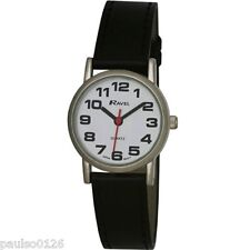 Ladies Ravel Large Easy Read Silver Watch. Extra Long Strap 16-21cm. Big Chrome