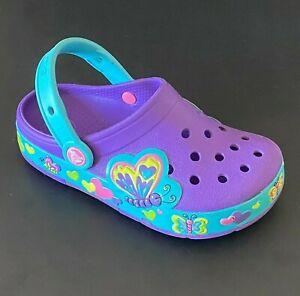 CROCS BUTTERFLY LIGHT UP CLOGS Girls Clogs Kids Sandals Slip-on Water Shoes C 13