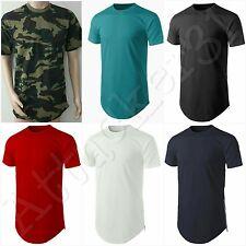 NEW Men's Basic Hip Hop Style Long T-Shirt with Side Zipper S: 4XL 100% COTTON