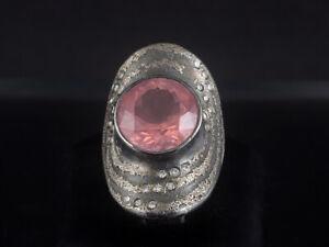 Zobel Rosenquarz Brillant Ring ca. 9,41ct  13,3g 925/- Silber & Platin