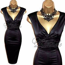COAST Stunning BLACK Stretch SATIN Wiggle Cocktail DRESS UK 8  Weddings Races