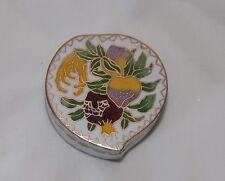 Lovely Vintage Cloisonne Enamel Small Heart Trinket box Fruit Flower China