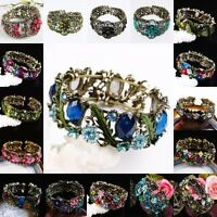Crystal Rhinestone Resin Floral Flower Bronze Cuff Bangle Bracelet Women Jewelry