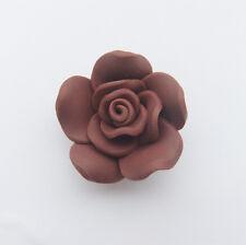 5 x marron fleurs argile polymère rose 30mm x 15-18mm