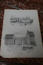 CRAYON SIGNE A DE VILLIERS 1864 bretagne longère à L'Armor près Vannes