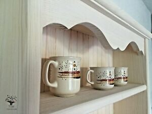 s99 Handcrafted Wall Hanging Cupboard with Cup Hooks | Kitchen's Cottage Cabinet