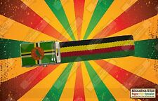 DOMINICA FLAG BLACK YELLOW GREEN BELT ROOTS & CULTURE