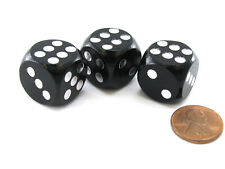 Pack of 3 18mm Wood Dice, Character Builder Loaded to Roll 6s- Black with Silver