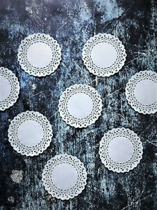 100 Round White Paper Lace Table Doilies – 4 inch Mini Doily