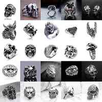 Men's Stainless Steel Silver Fashion Gothic Punk Charm Skull Finger Ring Jewelry
