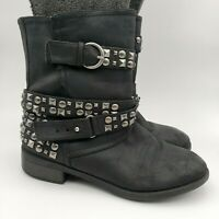 Dirty Laundry Showstopper Black Leather Studded Women's Biker Boots Size 8