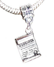 Diploma Graduate Graduation Gift Dangle Bead fits Silver European Charm Bracelet