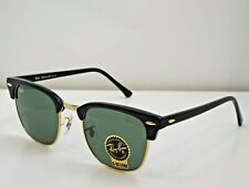 NEW Ray-Ban RB 3016 W0365 Black Gold Green Clubmaster 51 mm Sunglasses $193
