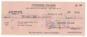 Tennessee Williams American Playwright Autographed 1978 Check
