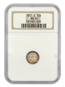 1851-O 3cS NGC MS65 (OH) - 3-Cent Silver - Popular & Scarce O-Mint Trime