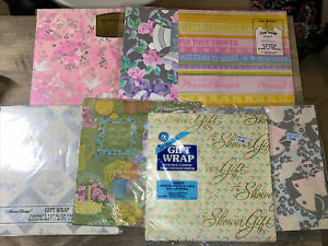 Vintage Gift Wrap Wrapping Paper Uncut bridal shower- NOS- 7 New Packs