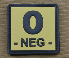 "PVC / Rubber Patch ""Blood type 0 NEG - Tan"" with VELCRO® brand hook"