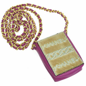 CHANEL CC Chain Mini Shoulder Bag Pouch Pink Fur Leather NR13985g