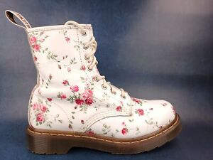 Dr Martens Boots Pascal Floral Victorian White Leather Pink Roses Womens Size 7