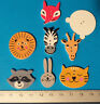 8 Safari Animals Novelty wooden Buttons Kids Craft Knitting Toppers Cards