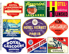 9 BAGGAGE STICKERS, 1 Sheet, Hotel Label REPRODUCTIONS for Travel Trunk Art