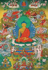 "26"" TIBET SILKPRINT THANGKA: GAUTAMA BUDDHA DEFEAT LORD OF DESIRE MARA & EVILS ="