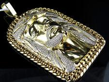 Da Uomo Oro Giallo Faccia Gesù Pezzi Maglia Cubana Diamante 10.8cm Ciondolo