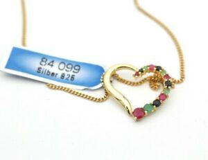 Wunderschöne Damen Halskette Herz Anhänger 925 Silber Vergoldet mit Edelsteine