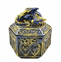 Celtic Blue Dragon Trinket Box Ornament Secret Stash Decoration or Gothic Gift