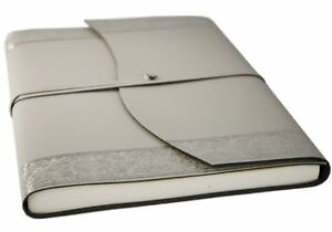 GRADE B Angelus Recycled Leather Journal Silver A4 Plain Handmade Italy RRP £44